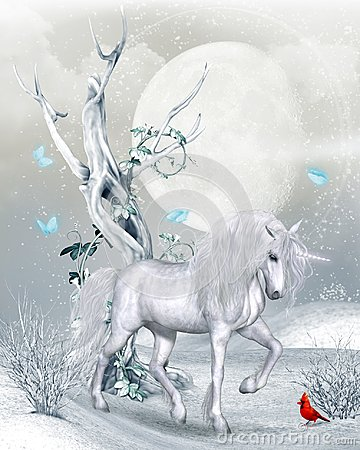 Free Magical Unicorn In Winter Landscape Royalty Free Stock Photo - 122146355