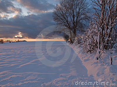 Magical winter sunset in a snow field