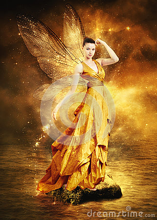 Free Magical Young Woman As Golden Fairy Royalty Free Stock Image - 27046106