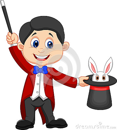 Free Magician Cartoon Pulling Out A Rabbit From His Top Hat Royalty Free Stock Image - 33242186