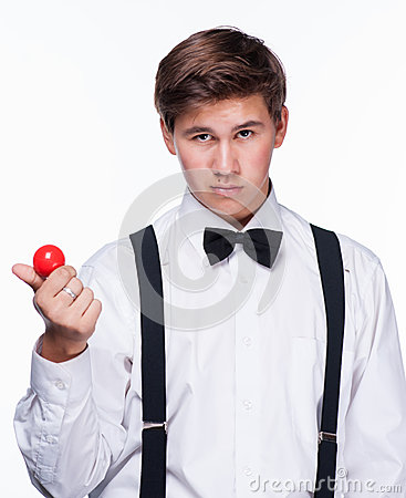 A magician holding a magic ball