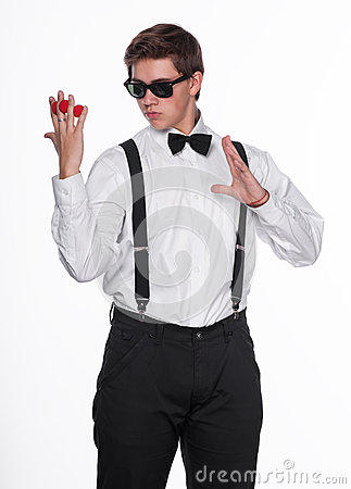 A magician holding  magic balls
