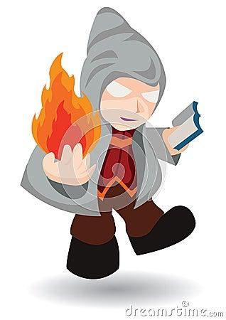 Magician in hood cast fire spell