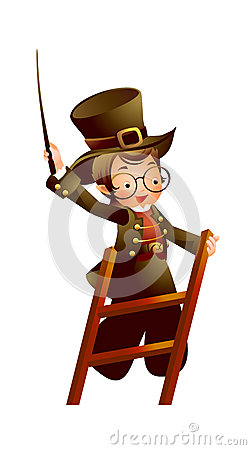 Magician on ladder