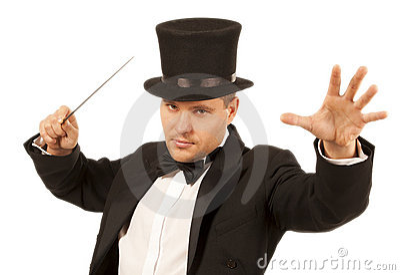 Magician with magic wand