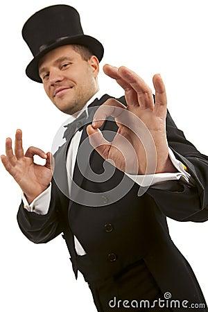 Magician making  ok  gesture