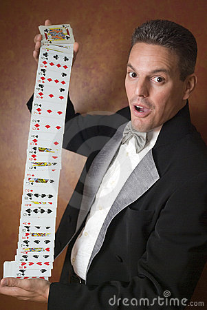 Magician performing card trick