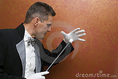 Magician performing with wand