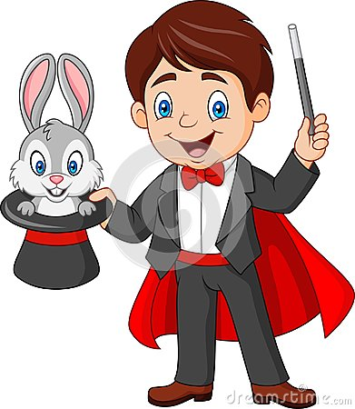 Free Magician Pulling Out A Rabbit From His Top Hat Royalty Free Stock Photography - 124828057