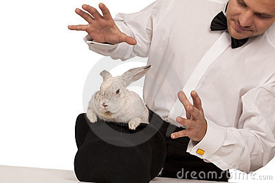 Magician with a rabbit