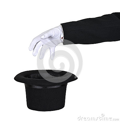 Magician Reach Into Magic Top Hat Isolated