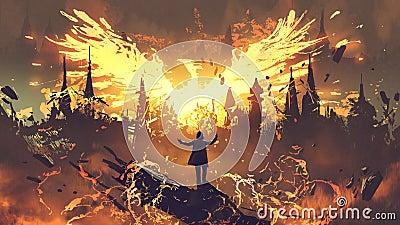 Magician summoning the phoenix creature Cartoon Illustration