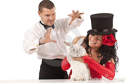 Magicians with  bunny