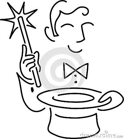 illustration de dessin anim dun magicien avec une baguette magique magique et un premier chapeau