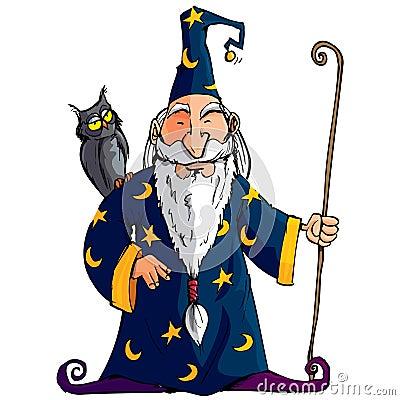 Magicien de dessin animé avec un personnel