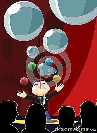 Magier durchführenInfront von einem Publikum