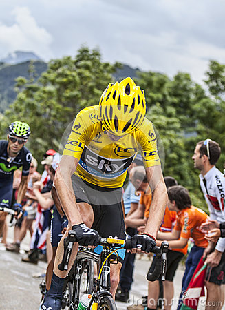 Maglia gialla su Alpe d Huez Immagine Stock Editoriale