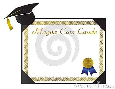 Magna Cum Laude College Diploma with cap and tasse