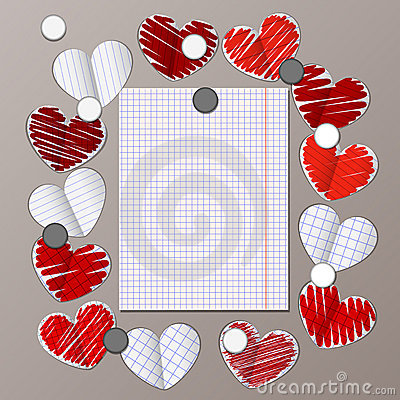 Magnet board with paper hearts and message note