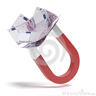 Magnet with euro banknotes