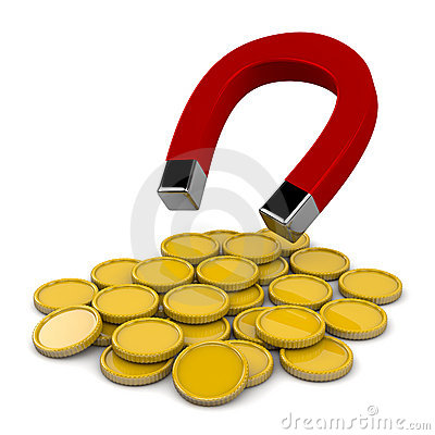Magnet with golden coins