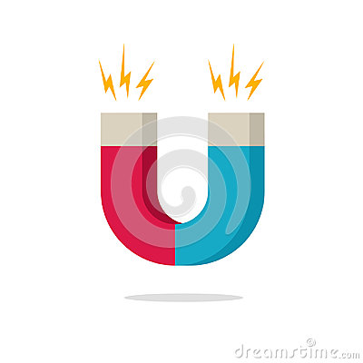 Free Magnet With Magnetic Power Icon Vector Illustration, Flat Cartoon Magnet Isolated Stock Photos - 97116453