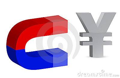 Magnet and yen sign