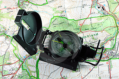 Magnetic compass with map