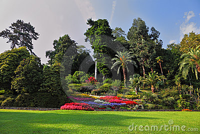 Magnificent park with  flower beds