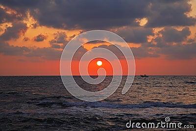 Magnificent sunset on coast