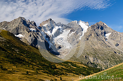 Magnificent view on glaciers of Ecrins