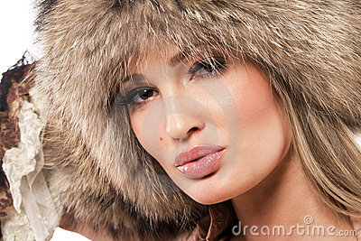 Magnificent woman in fur hat