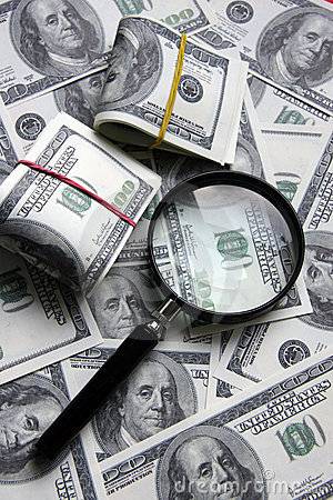 Magnifier and dollars