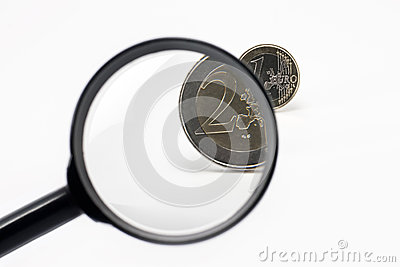 Magnifier and euro coin