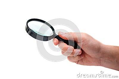 Magnifier in man hand