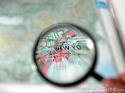 Magnifier que focaliza New York