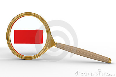 Magnifier and sign minus on white background