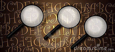 Magnifying glass with abstract text