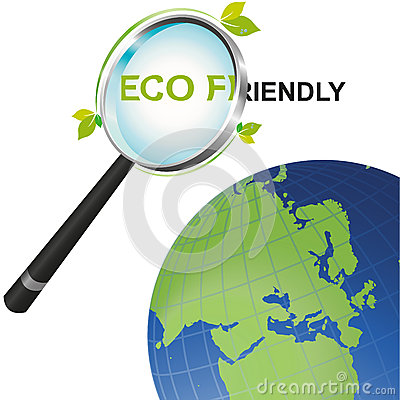 Magnifying glass Eco Friendly looking at the world