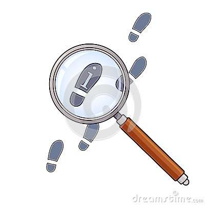 Magnifying glass and footprints