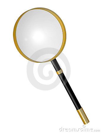 Magnifying Glass With Gold Metal Trim