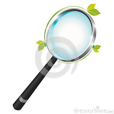 Magnifying glass with a green leaf touch