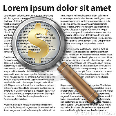 Magnifying glass icon with dollar symbol