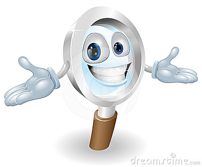Magnifying glass mascot