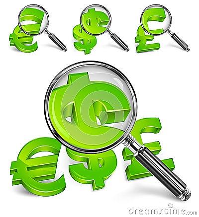 Magnifying glass & money symbol