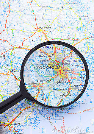 Magnifying glass over Stocholm, Sweden map