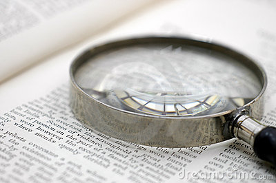 Magnifying glass on page