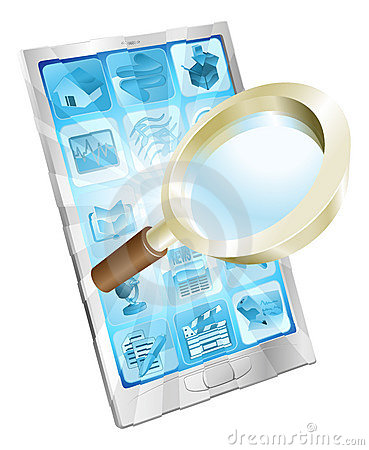 Magnifying glass search icon  phone concept