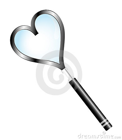 Magnifying glass with shape heart
