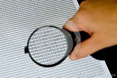 Magnifying glass with success word